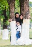 De families kijken uit merkwaardig tussen de bomen stock afbeelding