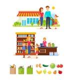 De families kopen producten in wandelgalerij, lopen en brengen weekdagen door stock illustratie