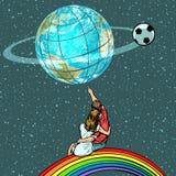 De fans letten op het voetbalkampioenschap royalty-vrije illustratie