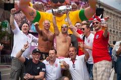 De fans van Engeland komen in fanzone aan Royalty-vrije Stock Afbeelding
