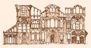 De fantasie baseerde decoratieve oude gebouwen, schetste en remastered Stock Foto