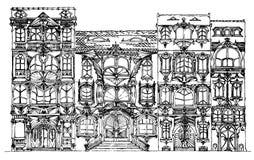De fantasie baseerde oude geschetste gebouwen zij aan zij, Royalty-vrije Stock Foto's