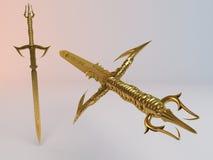 De fantasie detailleerde 3d Gouden zwaard Royalty-vrije Stock Foto's