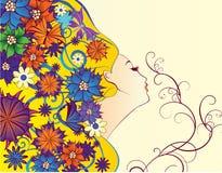 De fantasie van de de lentevrouw met bloemen Stock Foto's