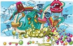 De fantasie van het octopussuikergoed Royalty-vrije Stock Fotografie
