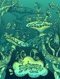 De fantasieillustratie schiet land in Zen-de blauwe marine van de krabbelstijl en groen als paddestoelen uit de grond Royalty-vrije Stock Afbeelding