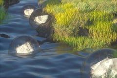 De fantasielantaarns in de rivier tussen bergen, het 3d teruggeven vector illustratie