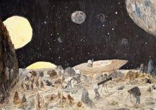 De fantasieolieverfschilderij van de kosmos Stock Fotografie