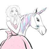 De fantastische eenhoorn met regenboog kleurt manen en hoorn en prinsesmeisje in een roze kleding Vector leuke illustratie Stock Afbeeldingen