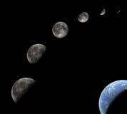 De fasen van de maan stock foto's