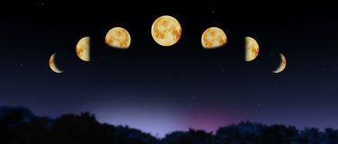 De fasen van de maan Stock Foto