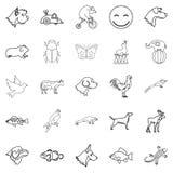 De favoriete dierlijke geplaatste pictogrammen, schetsen stijl Royalty-vrije Stock Afbeeldingen