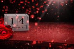 14 de febrero, backgroun, rosas y corazones para el ` s DA de la tarjeta del día de San Valentín Imagenes de archivo