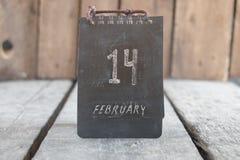 14 de febrero calendario del vintage Idea del día de tarjeta del día de San Valentín Imagen de archivo