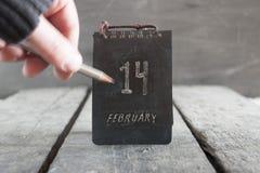 14 de febrero calendario del vintage Idea del día de tarjeta del día de San Valentín Fotos de archivo