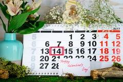 14 de febrero día del ` s de la tarjeta del día de San Valentín Imagen de archivo libre de regalías