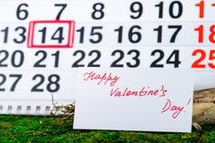 14 de febrero día del ` s de la tarjeta del día de San Valentín Fotografía de archivo