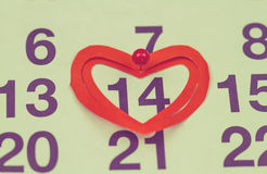 14 de febrero de 2015 en el calendario, el día de tarjeta del día de San Valentín Foto de archivo