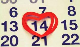 14 de febrero de 2015 en el calendario, el día de tarjeta del día de San Valentín Fotografía de archivo libre de regalías