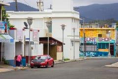 16 de febrero de 2015 - escena de la calle, centro de ciudad, playa de Luquillo, Puerto Rico, 16, 2015 Imágenes de archivo libres de regalías