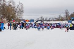 11 de febrero de 2017 maratón anual 2017 del esquí de Nikolov Perevoz Russialoppet de la raza de esquí del estado del arte-Verete Imágenes de archivo libres de regalías