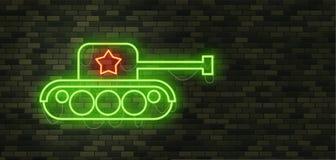 23 de febrero Defensores del día de la patria Señal de neón y gre del tanque Imagen de archivo libre de regalías