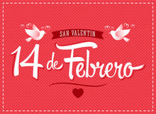 14 de febrero dia de San Valentin, Spanish translation: February 14 Valentines day. Vector lettering - eps available Stock Image