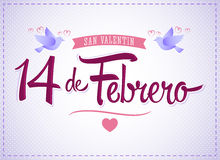 14 de febrero dia de San Valentin, Spanish translation: February 14 Valentines day Stock Images