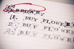 14 de febrero, el día de San Valentín, compra florece el texto Imágenes de archivo libres de regalías