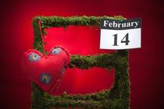 14 de febrero, el día de tarjeta del día de San Valentín, corazón rojo Fotografía de archivo libre de regalías