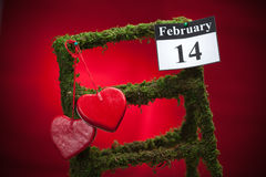 14 de febrero, el día de tarjeta del día de San Valentín, corazón rojo Fotos de archivo