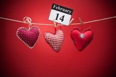 14 de febrero, el día de tarjeta del día de San Valentín, corazón rojo Imagen de archivo libre de regalías