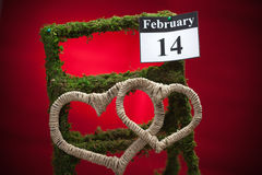 14 de febrero, el día de tarjeta del día de San Valentín, corazón rojo Imagen de archivo