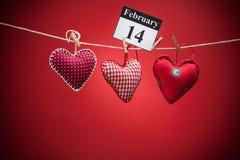 14 de febrero, el día de tarjeta del día de San Valentín, corazón rojo Fotografía de archivo