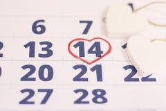 14 de febrero en calendario Fotografía de archivo