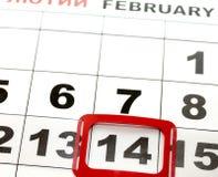 14 de febrero en el calendario, el día de tarjeta del día de San Valentín Foto de archivo libre de regalías