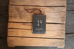 14 de febrero etiqueta, idea del día de tarjeta del día de San Valentín Foto de archivo libre de regalías