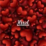 14 de febrero Fondo rojo realista romántico de los corazones 3D del amor Imagenes de archivo
