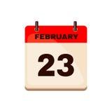 23 de febrero icono del calendario Imágenes de archivo libres de regalías