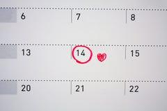 14 de febrero marca en el calendario Foto de archivo libre de regalías
