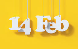 14 de febrero tarjeta de la papiroflexia del Libro Blanco de Valentine Day en backgr rojo Imágenes de archivo libres de regalías