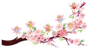 De feeën die op bloesem vliegen vertakken zich royalty-vrije illustratie