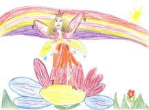 De fee die van de kindtekening op een bloem vliegen Stock Fotografie