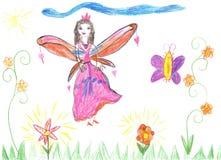 De fee die van de kindtekening op een bloem vliegen Stock Afbeeldingen