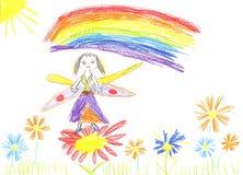 De fee die van de kindtekening op een bloem vliegen Stock Afbeelding