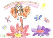 De fee die van de kindtekening op een bloem vliegen Royalty-vrije Stock Afbeeldingen