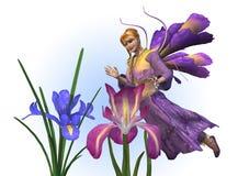 De Fee van de bloem met Irissen Royalty-vrije Stock Foto's
