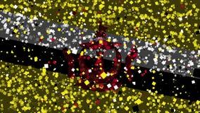 De feest geanimeerde achtergrond van vlag van Brunei verschijnt van vuurwerk vector illustratie