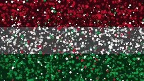De feest geanimeerde achtergrond van vlag van Hongarije verschijnt van vuurwerk vector illustratie