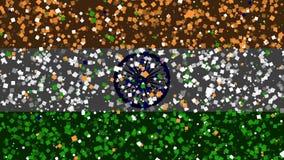 De feest geanimeerde achtergrond van vlag van India verschijnt van vuurwerk royalty-vrije illustratie